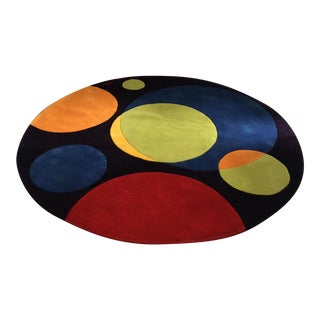 Vintage Op Art Hand Tufted Wool Rug -- 7' x 7'