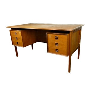 Mid-Century Danish Teak Desk by Omann Junior