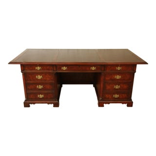 John Widdicomb Burled Mahogany Leather Top Executive Desk