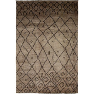 "Moroccan Beni Ourain Hand Knotted Brown Wool Area Rug - 6' 0"" X 8' 10"""