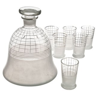 Mid-Century Glass Decanter With Six Glasses