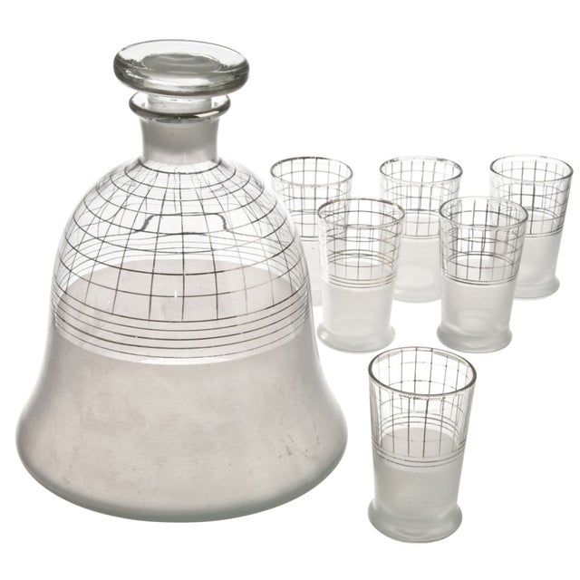 Image of Mid-Century Glass Decanter With Six Glasses
