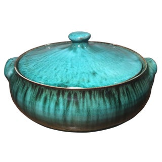 Mid-Century Ceramic Teal Dish with Lid