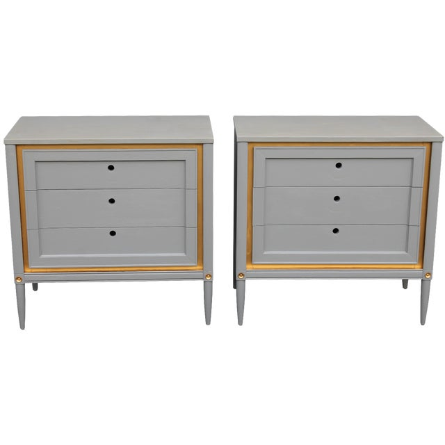 1960s Slate Blue & Gilt Accent Bachelor's Chests - A Pair - Image 1 of 10