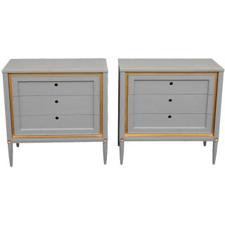1960s Slate Blue & Gilt Accent Bachelor's Chests - A Pair