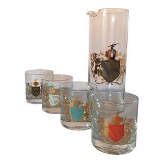 Vintage Carafe & Crest Pattern Glasses