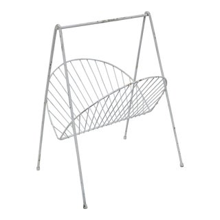 Mid-Century Modern White Iron Wire Magazine Rack