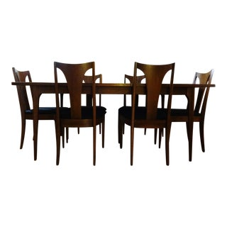 Mid Century Modern Broyhill Brasilia Sculpted Walnut Dining Room Table & 6 Chairs