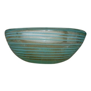 Seafoam Stipe Murano Bowl Attributed to Fratelli Toso