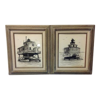 Vintage Pen & Ink Beach Cottage Signed Drawings - A Pair