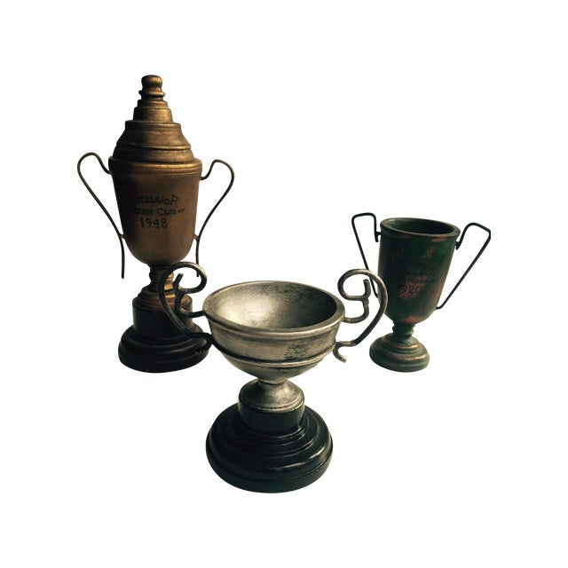Image of Wooden Decorative Trophies - Set of 3