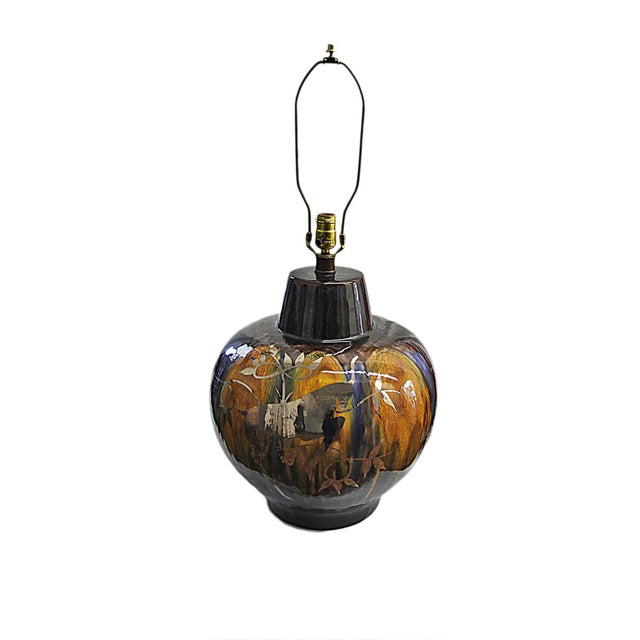 Vintage Glazed Lamp with Silver Antelope Motif - Image 1 of 6