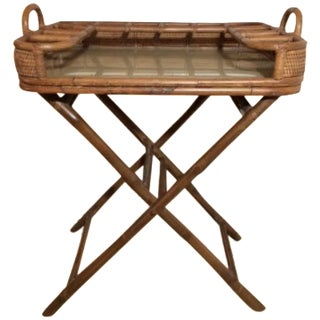Vintage Mini Rattan Folding Bar Cart