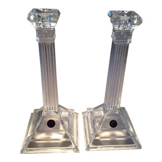 Leaded Crystal St. George Candle Holders - A Pair