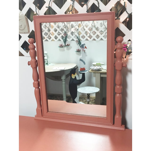 Antique Pink Painted Shabby Chic Vanity & Mirror - Image 3 of 11