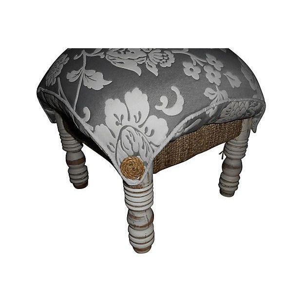 Pillow-Top Ottomans in Gray/White - A Pair - Image 2 of 4