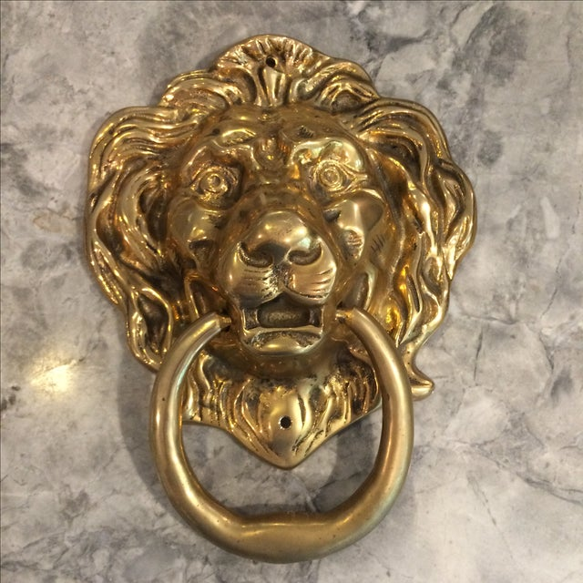 Oversize Brass Lion Head Door Knocker - Image 2 of 4