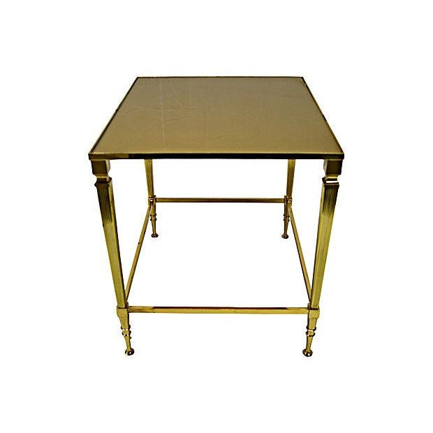 Neoclassical Brass & Glass Auxiliary Side Table - Image 2 of 10