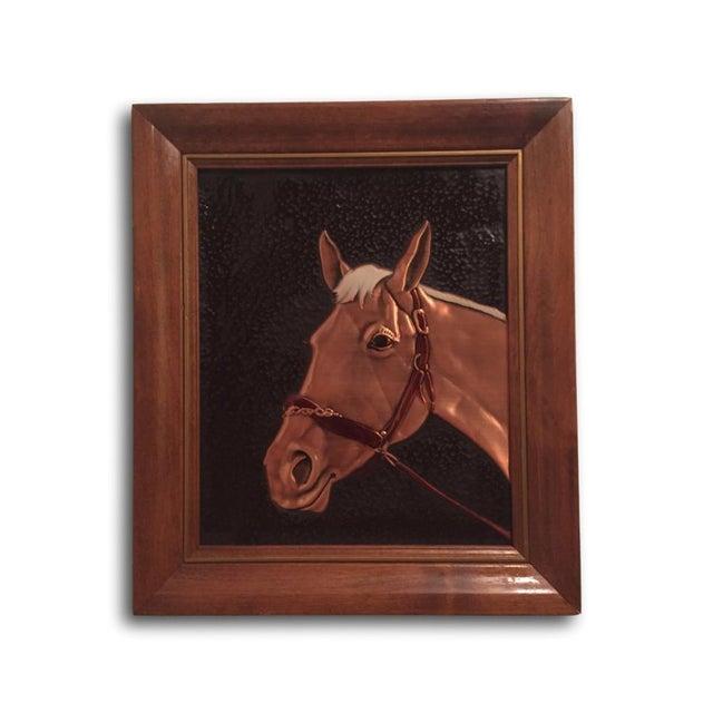 Image of Vintage Relief Copper Horse Framed Plaque Art