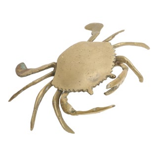 Vintage Brass Crab Ashtray Figure