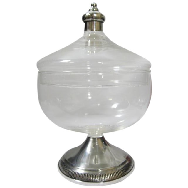 Sterling Finial & Base Covered Glass Candy Dish - Image 1 of 11