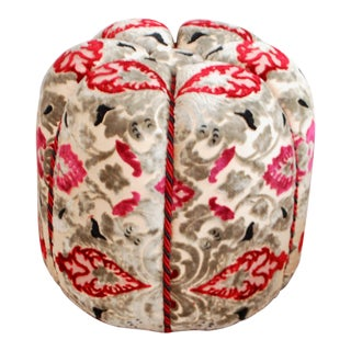 Moroccan Red & Grey Velvet Fabric Pouf
