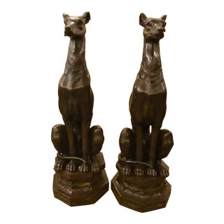 Pair of Bronze Pierre-Jules Mene Bronze Whippet Dogs