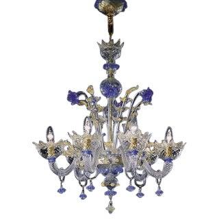 Hand Blown Murano Glass Six-Light Chandelier