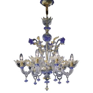 Hand Blown Murano Glass Six-Light Chandelier