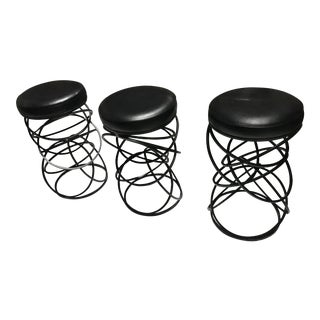Mid-Century Modern Iron & Vinyl Bar Stools - Set of 3