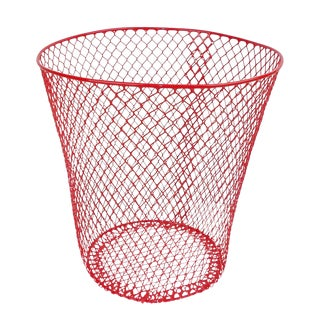 Vintage Mid-Century Modern Red Wire Metal Waste Bucket