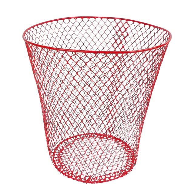 Vintage Mid-Century Modern Red Wire Metal Waste Bucket - Image 1 of 11