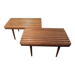 Mid-Century Matching Teak Slat Benches - A Pair