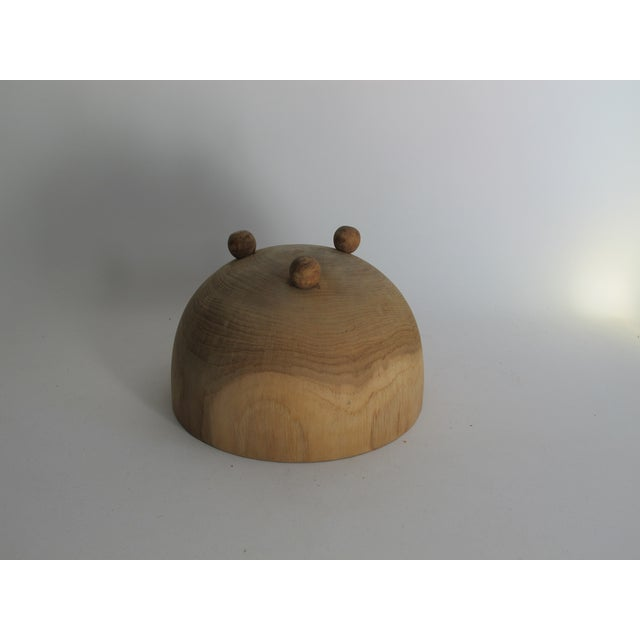 Carved Solid Wood Bowl with Bun Feet - Image 7 of 7