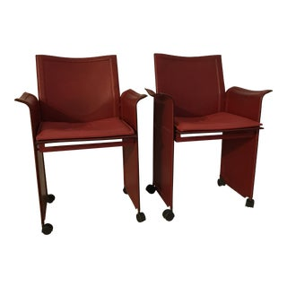 Matteo Grassi Red Leather Chairs - A Pair