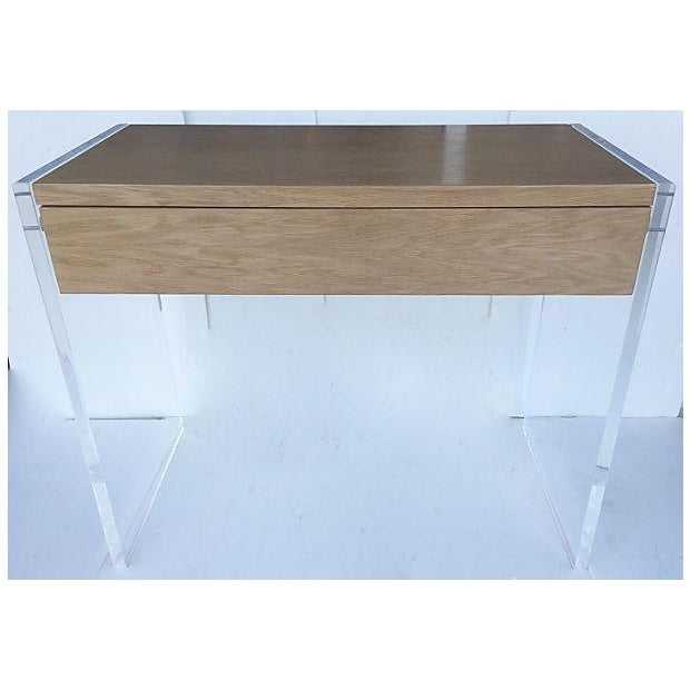 Image of Mid-Century Veneer Wood and Lucite Desk/Vanity