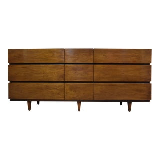 American of Martinsville Long Walnut Dresser