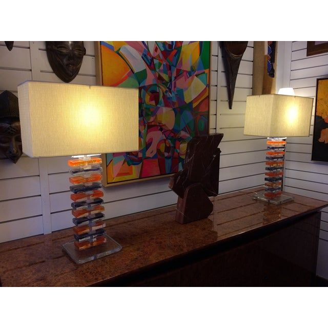 Murano Geometric Table Lamps - Pair - Image 6 of 6