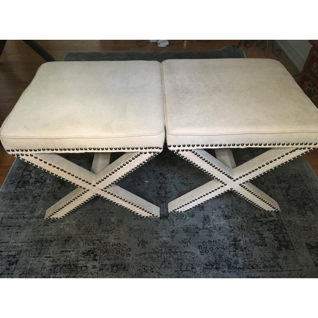 Linen Nailhead X-Bench Ottoman - a Pair - Image 6 of 8