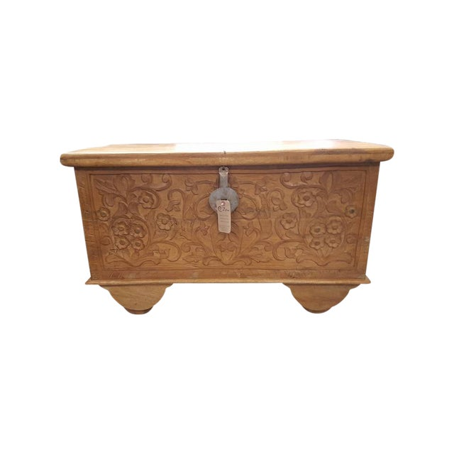 Carved Wooden Chest With Wheels - Image 1 of 7