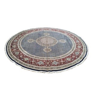 Traditional Persian Design Round Knotted Rug - 9′ × 9′