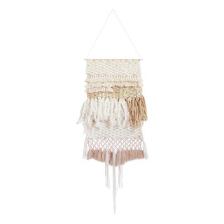 Tan & Gold Woven Wall Hanging