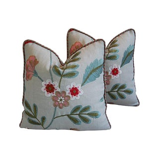 Custom Tailored Palampore Embroidery & Silk Feather/Down Pillows - Pair