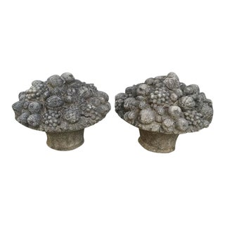 Monumental Stone Fruit & Flower Baskets - A Pair