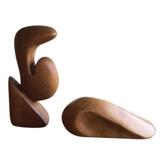 Mid-Century Abstract Wooden Forms - Pair