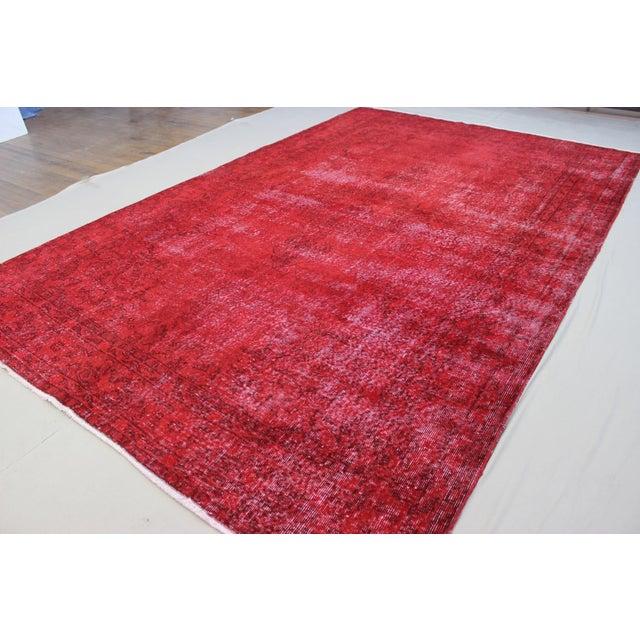 "Vintage Turkish Red Overdyed Rug - 7'2"" X 11' - Image 4 of 6"
