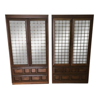 1960s Basset Walnut China Glass Cabinets - A Pair