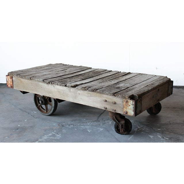 Vintage Industrial Cart Coffee Table: Antique Industrial Railroad Cart Coffee Table