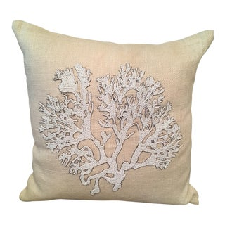 Decorative Beaded Coral Accent Pillow