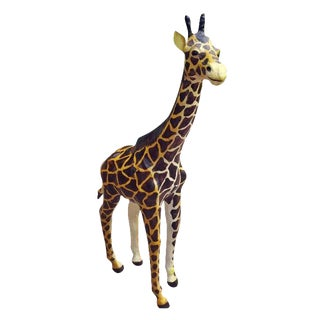 Handmade Paper Mache Giraffe Leather Figurine